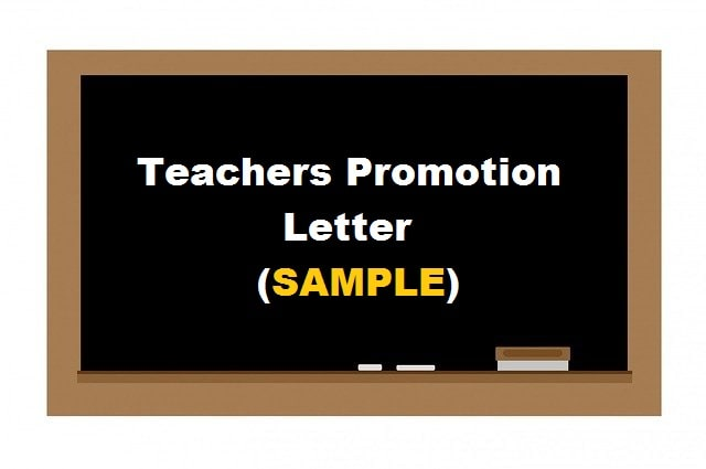 Sample Teachers Promotion Application Letter