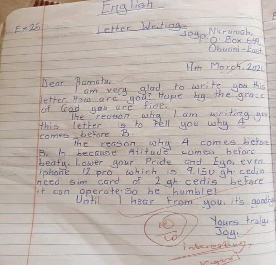 Dear Ramatu, Attitude comes Before Beauty Obuasi School Kid's Letter Goes Viral