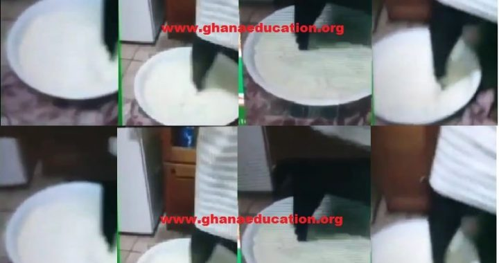 Disgusting as Ghanaian lady uses dirty feet to mash ice kenkey for sale [Video]