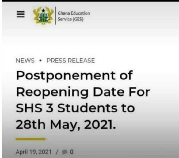 GES Postpones SHS reopening to 28th May Facts Checked
