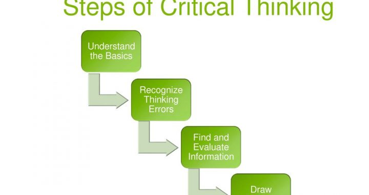 Understand the Basics. Recognize Thinking Errors. Find and Evaluate Information. Draw Conclusions. These are the steps we will take when we think critically about something. We will learn more about each individual step now!