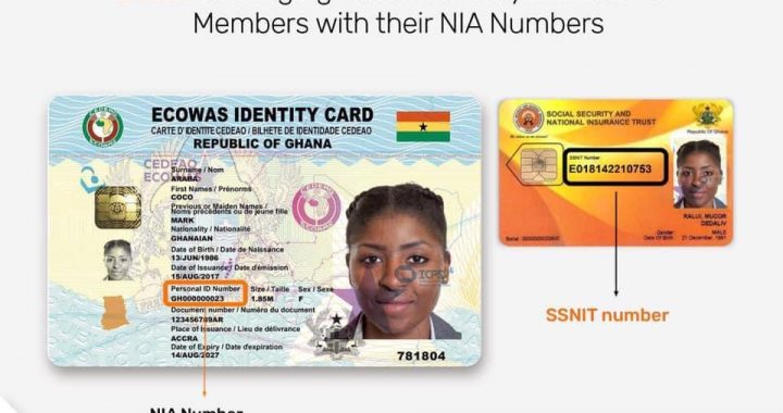 Ghana Card and SSNIT Number Date for merging NIA Numbers with SSNIT Nos Out